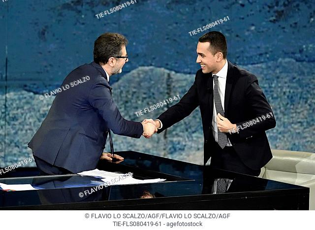 Fabio Fazio, Italian Deputy Prime Minister and Minister of Labor and Industry Luigi Di Maio during the tv show Che tempo che fa, Milan, ITALY-07-04-2019