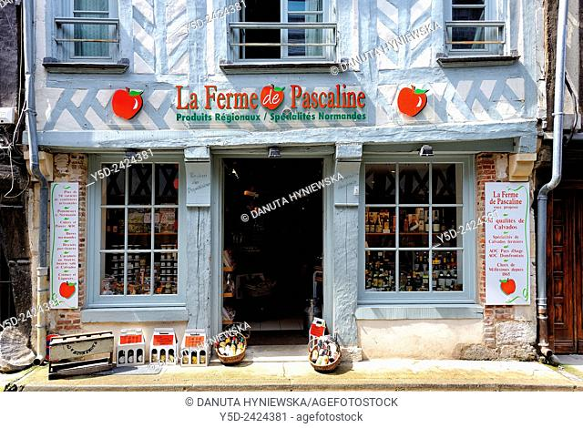 entrance to store offering local and regional products, Honfleur, Calvados, Normandy, France
