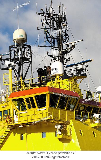 VIKING shipping line vessels. Oil support ships berthing Montrose Harbour Scotland UK