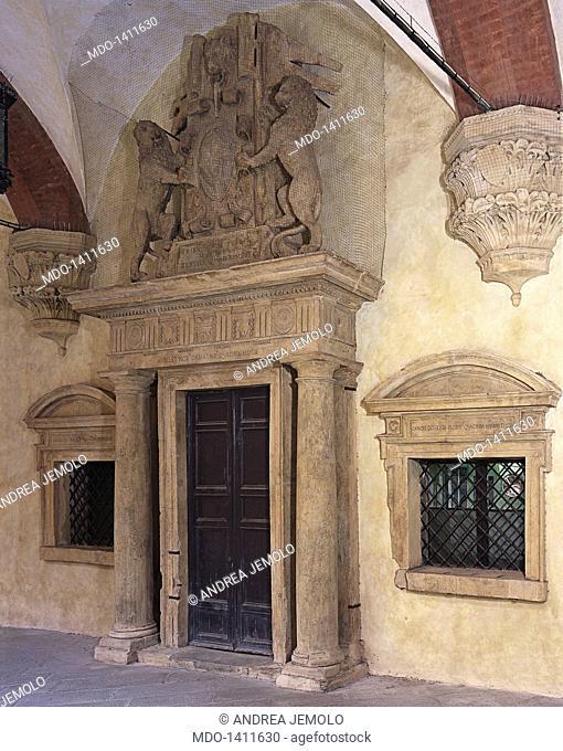 Door of the Tribunes (Porta dei Tribuni della Plebe), by Barozzi Jacopo known as Vignola, 1548, 16th Century, 3 x 7 m circa