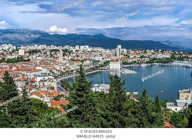 Aerial view of coastal city under blue sky, Split, Split, Croatia
