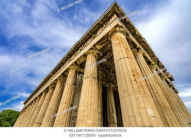 Ancient Temple of Hephaestus Columns Agora Market Place Athens Greece. Agora founded 6th Century BC. Temple for God of craftsmanship, metal working from 449 BC