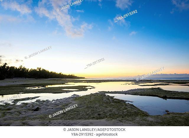 Low tide on San Juan beach at sunrise, Lala-o, San Juan, Siquijor Island, Central Visayas, Philippines