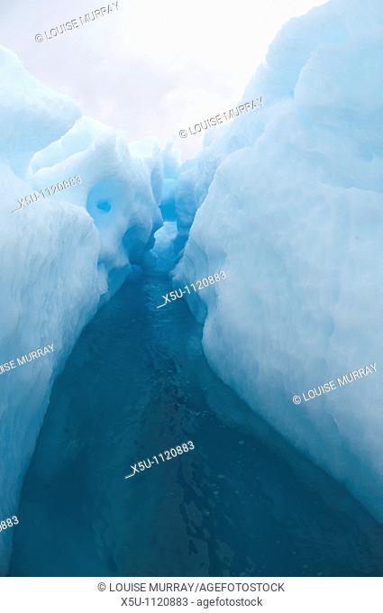 Antarctic peninsula -Port Lockroy Blue pressure ice is formed deep inside a glacier