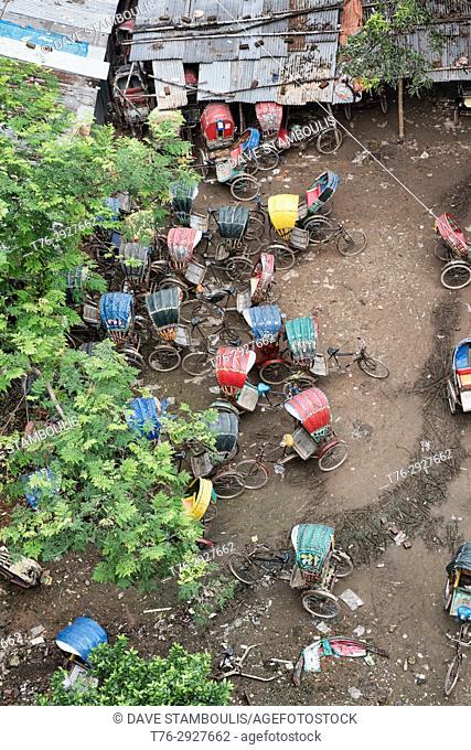 Rickshaw garage, Dhaka, Bangladesh