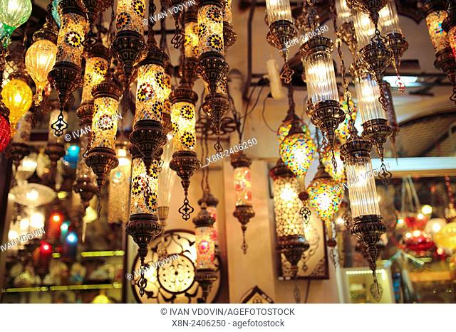 Shop of traditional colored lanterns, Grand Bazaar, Istanbul, Turkey