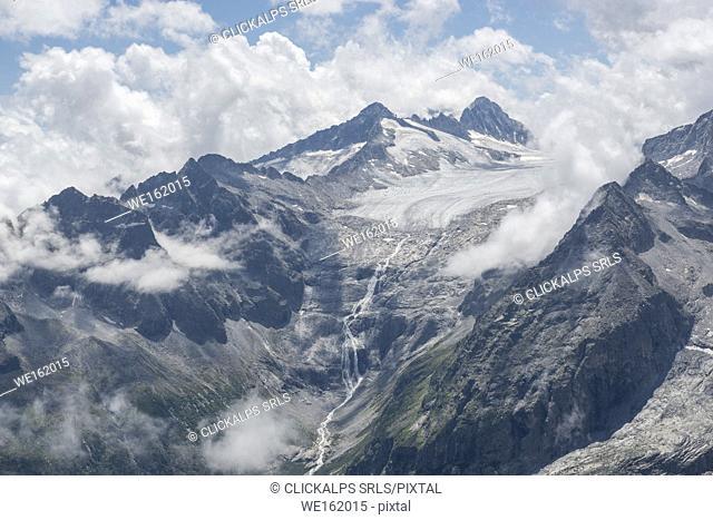 Panoramic view from the lobbia glacier, Sentiero dei Fiori in Adamello park, Brescia province, Europe, Lombardy district