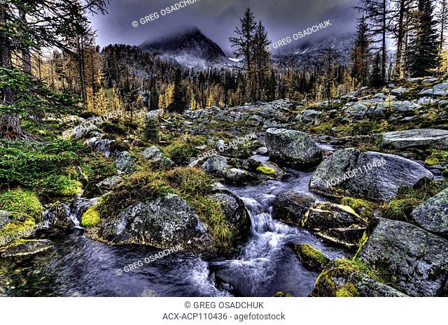 Early Autumn snow on the surrounding peaks, Monica Meadows, Kootenay region, BC, Canada