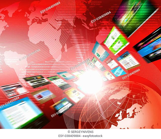 Abstract image of media streams. Symbol of the Internet and contemporary television