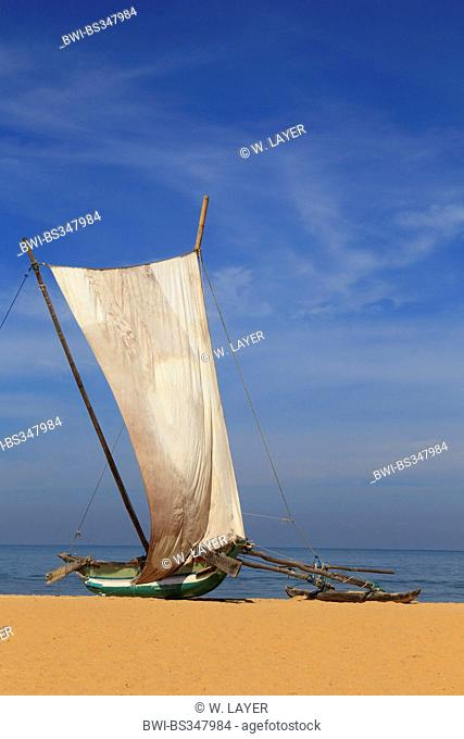 outrigger boat with set sail on the beach of Negombo, Sri Lanka