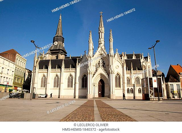 France, Nord, Roubaix, church of Saint Martin de Roubaix, from the 9th century reconstructed from 1468 to 1521 and registered in 2009 in the supplementary...