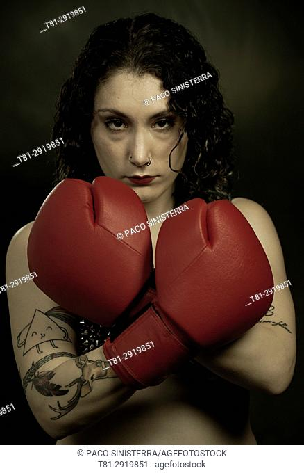 Girl boxer, Barcelona, Spain