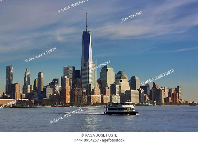 Manhattan, New York, USA, United States, America, architecture, WTC, city, downtown, ferry, new, panorama, river, skyline, touristic, travel, water, world trade