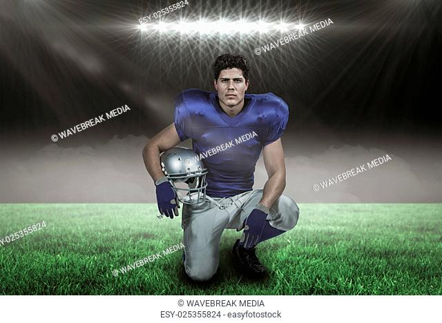 Composite image of portrait of confident american football player holding helmet with 3d
