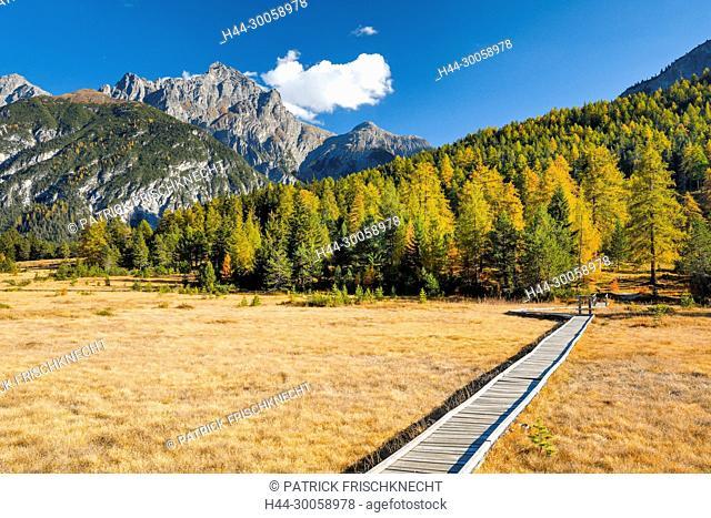 High-level moor with footbridge, Piz San Jon Dadora - 3048 m, Grisons, Switzerland