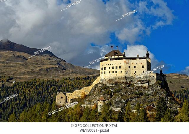 Tarasp Castle, Tarasp, Lower Engadin, Graubünden, Grisons, Switzerland