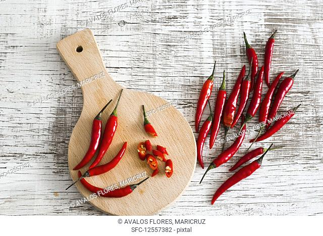Red chili peppers, whole and cut