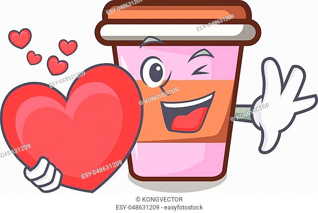 With heart coffee cup mascot cartoon vector illustration