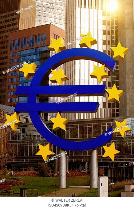European central bank signage, by skyscrapers, Frankfurt, Hessen, Germany, Europe