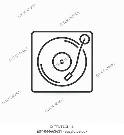 Vinyl player outline icon. Turntable concept symbol in thin line style