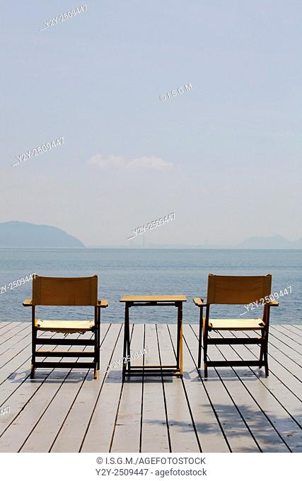 Chairs and table in Naoshima, Japan