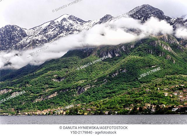 town of Mandello del Lario, Grigna massif - part of the Bergamo Alps in the background, province of Lecco, Lombardy, Como Lake, Italy