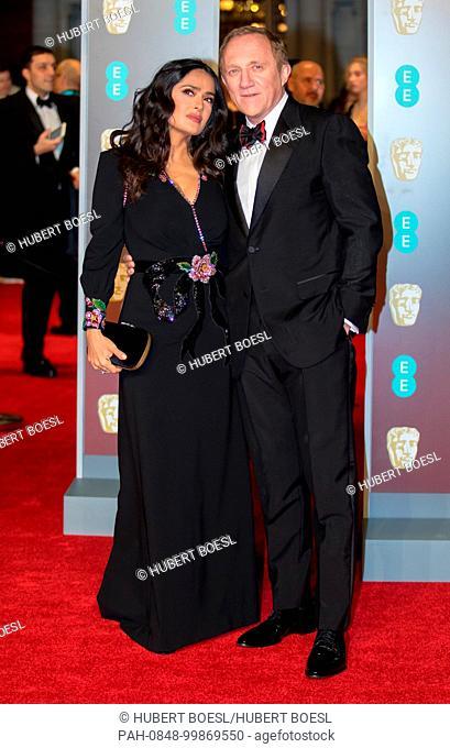 Salma Hayek and husband Francois-Henri Pinault attend the EE British Academy Film Awards, Bafta Awards, at the Royal Albert Hall in London, England