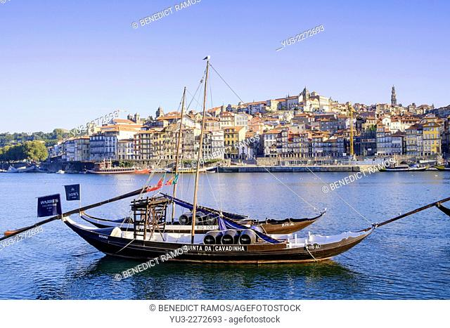 View of the Ribeira district across the River Douro, Oporto, Portugal, Europe