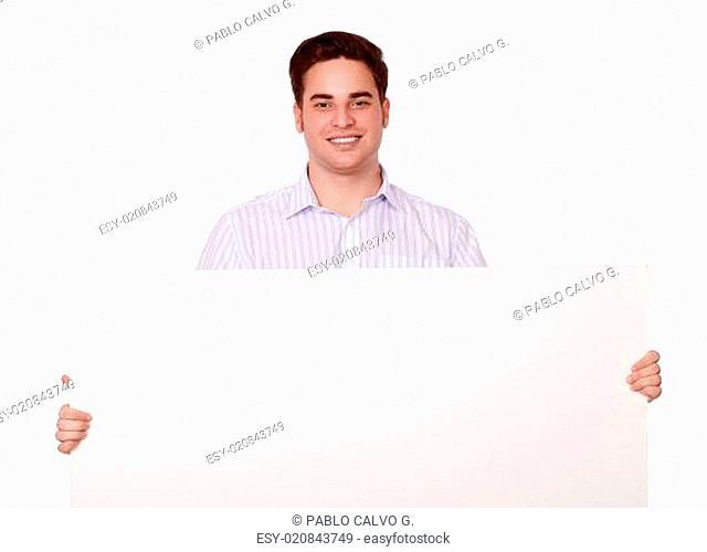 Cute caucasian man holding white placard