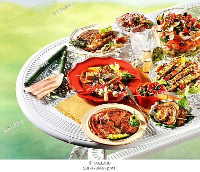 Variety of grilled dishes