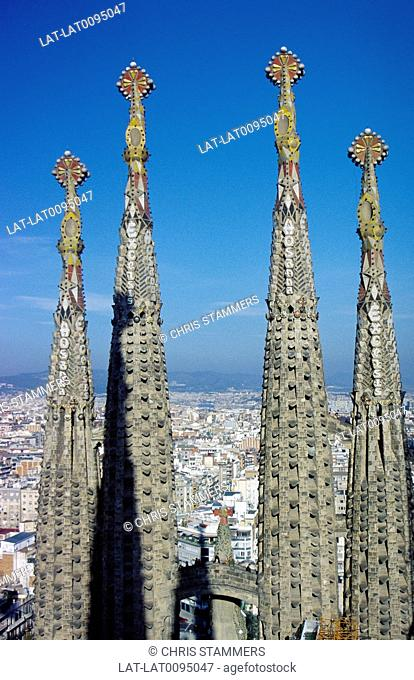 La Sagrada Familia. Gaudi cathedral. Towers. Ceramic tiles,mosaic patterns. View of city