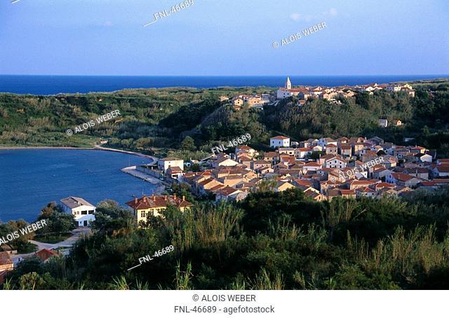 Town on island, Susak, Kvarner Bay, Croatia