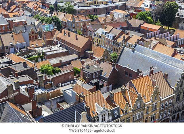 Rooftops in the village of Ypres, Belgium