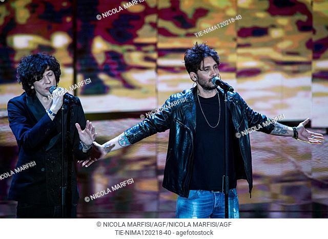 The winners of Sanremo Music Festival 2018 Hermal Meta and Fabrizio Moro during the tv show Che tempo che fa, Milan, ITALY-11-02-2018