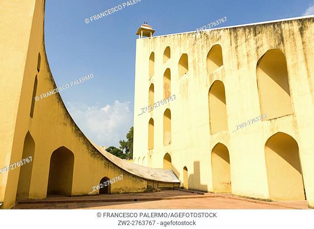 The Jantar Mantar structures are an equinoctial sundial. Jaipur, Rajasthan. India
