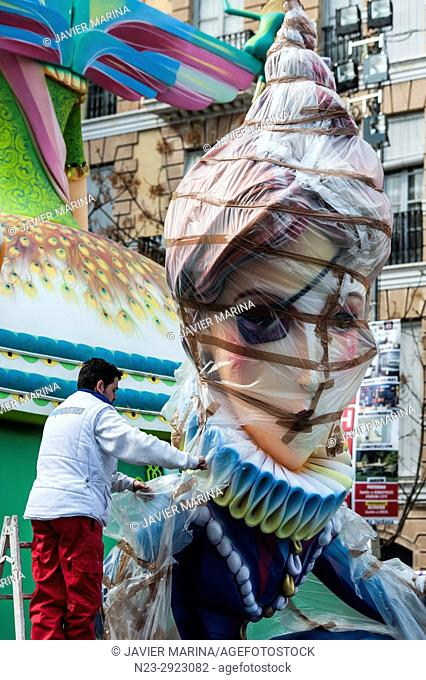 FALLA DE NA JORDANA, VALENCIA, SPAIN. The Falles is a traditional celebration held in commemoration of Saint Joseph in the city of Valencia, Spain