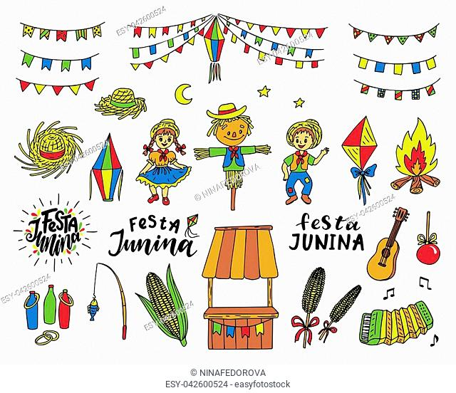 Set of Festa Junina traditional celebration symbols. Hand drawn vector illustration