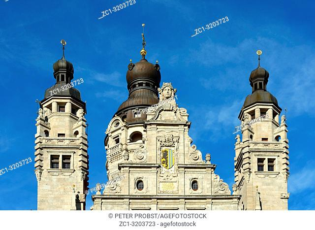 Tower top of the New town hall of Leipzig with the coat of arms of the Saxon metropolis - Germany