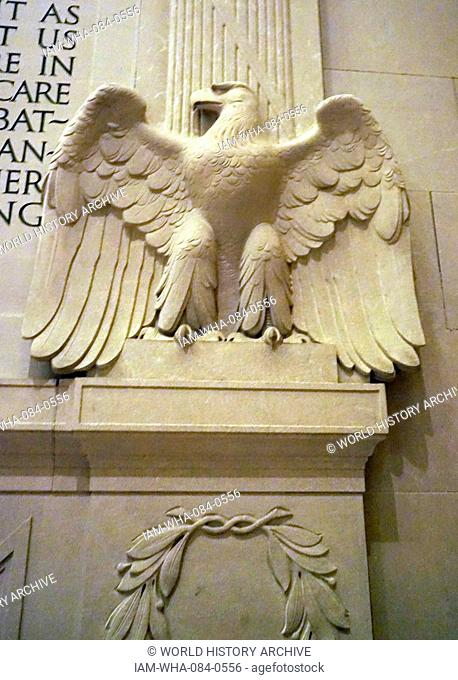 Relief from within the Lincoln Memorial, an American national monument built to honour the 16th President of the United States, Abraham Lincoln, at night