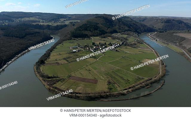 Loop of Saar River near Taben-Hamm, Saar Valley, Germany