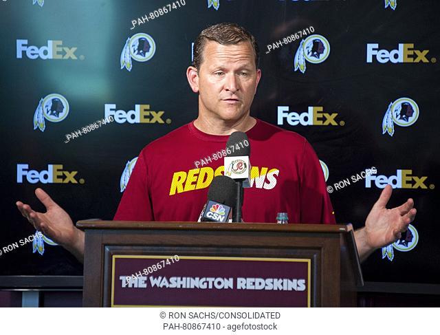 Washington Redskins defensive coordinator Joe Barry meets the media following an organized team activity (OTA) at Redskins Park in Ashburn