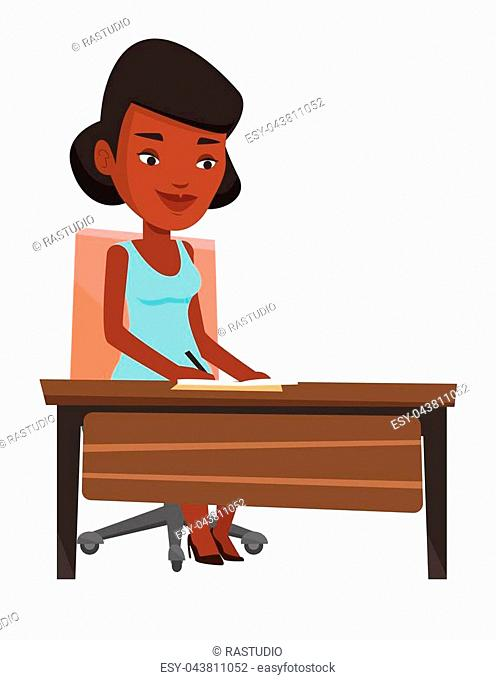 Journalist sitting at the table and writing notes in notebook. Journalist writing an article. Journalist working at the table in office