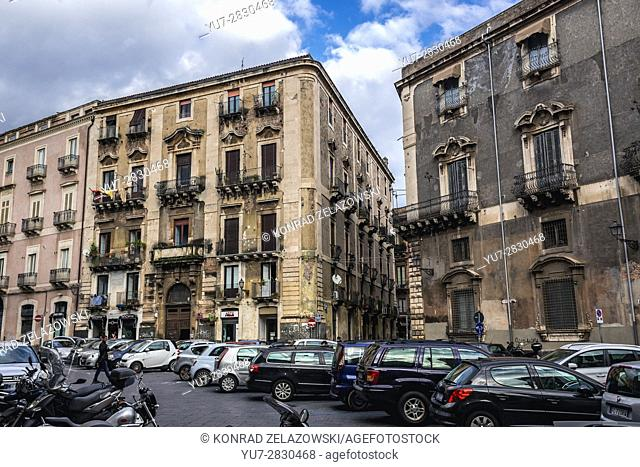 Buildings in Catania city on the east side of Sicily Island, Italy. Manganelli Palace on the right side