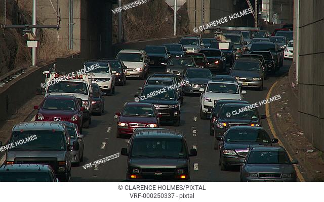 Bumper to bumper traffic moves slowly on an access road to the George Washington Bridge during morning rush hour in Fort Lee, New Jersey