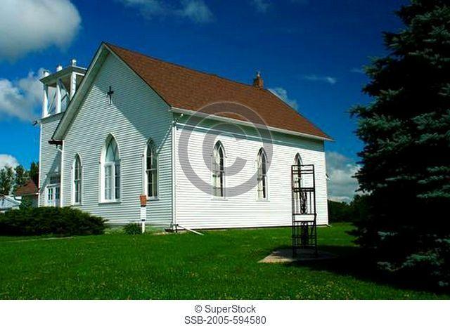 Church in a field, Minnesota, USA