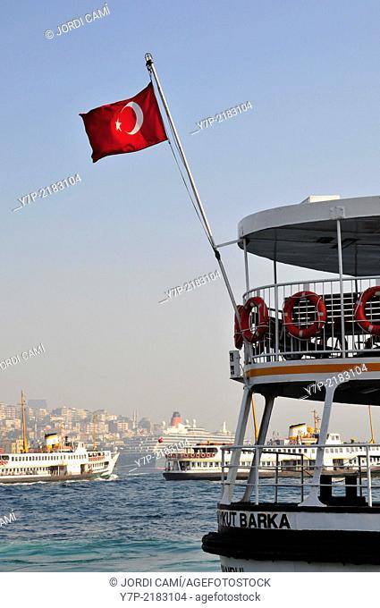 Ferry at Eminönü. Golden Horn. Istanbul. Turkey