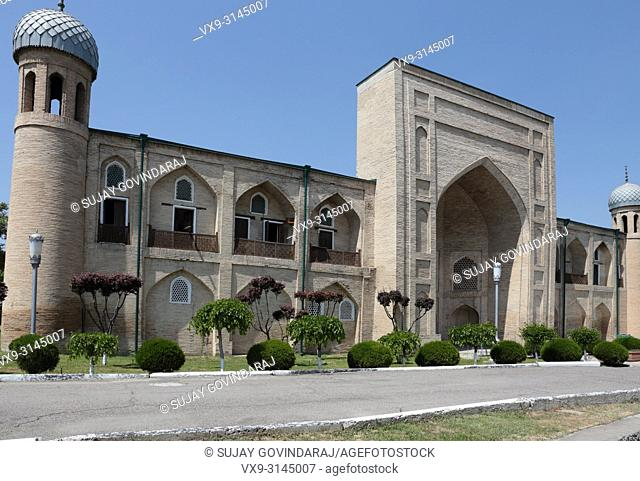 Tashkent, Uzbekistan - May 02, 2017: Front view of Abul Kasim madrasa, a well known 18th century historical building in the city