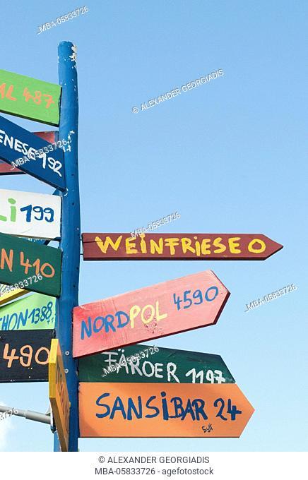 Signpost on the North Sea island Amrum, Germany