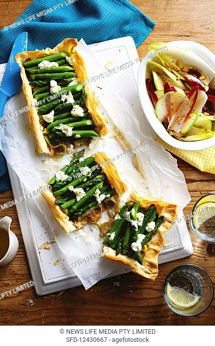 Asparagus and goat cheese filo tart