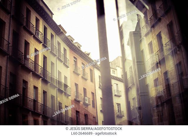 Cudilleros street, Facades in Madrid. San Miguel market, Madrid, Spain